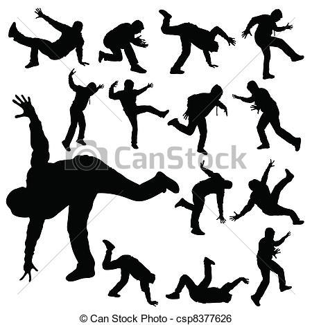 450x470 Man In Various Poses Of Break Dance Silhouette Clip Art Vector