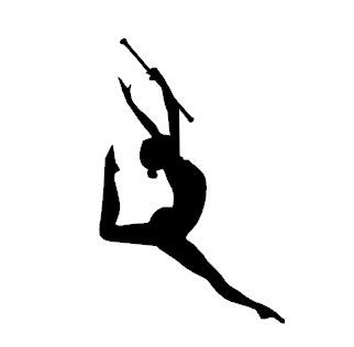 322x316 Silhouette Digital File, Majorette Leaping With Baton, Cameo