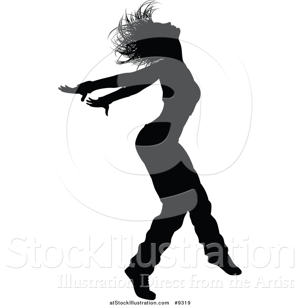 1024x1044 Vector Illustration Of A Black Silhouetted Female Hip Hop Dancer