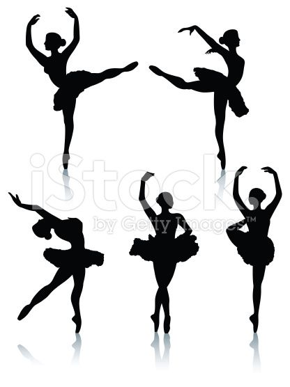 416x556 Vector Silhouettes Of Female Ballet Dancers With Reflections. One