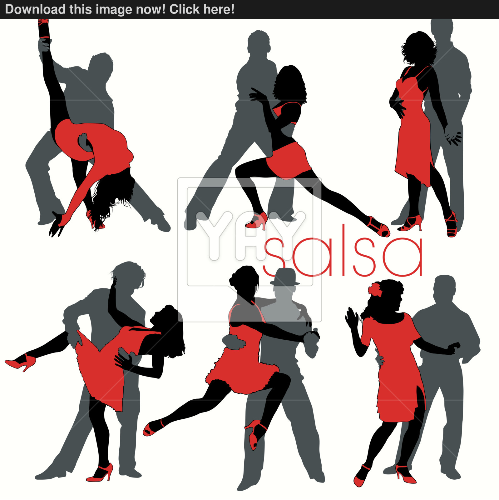 1598x1600 6 Salsa Dancing Couples Silhouettes Set Vector