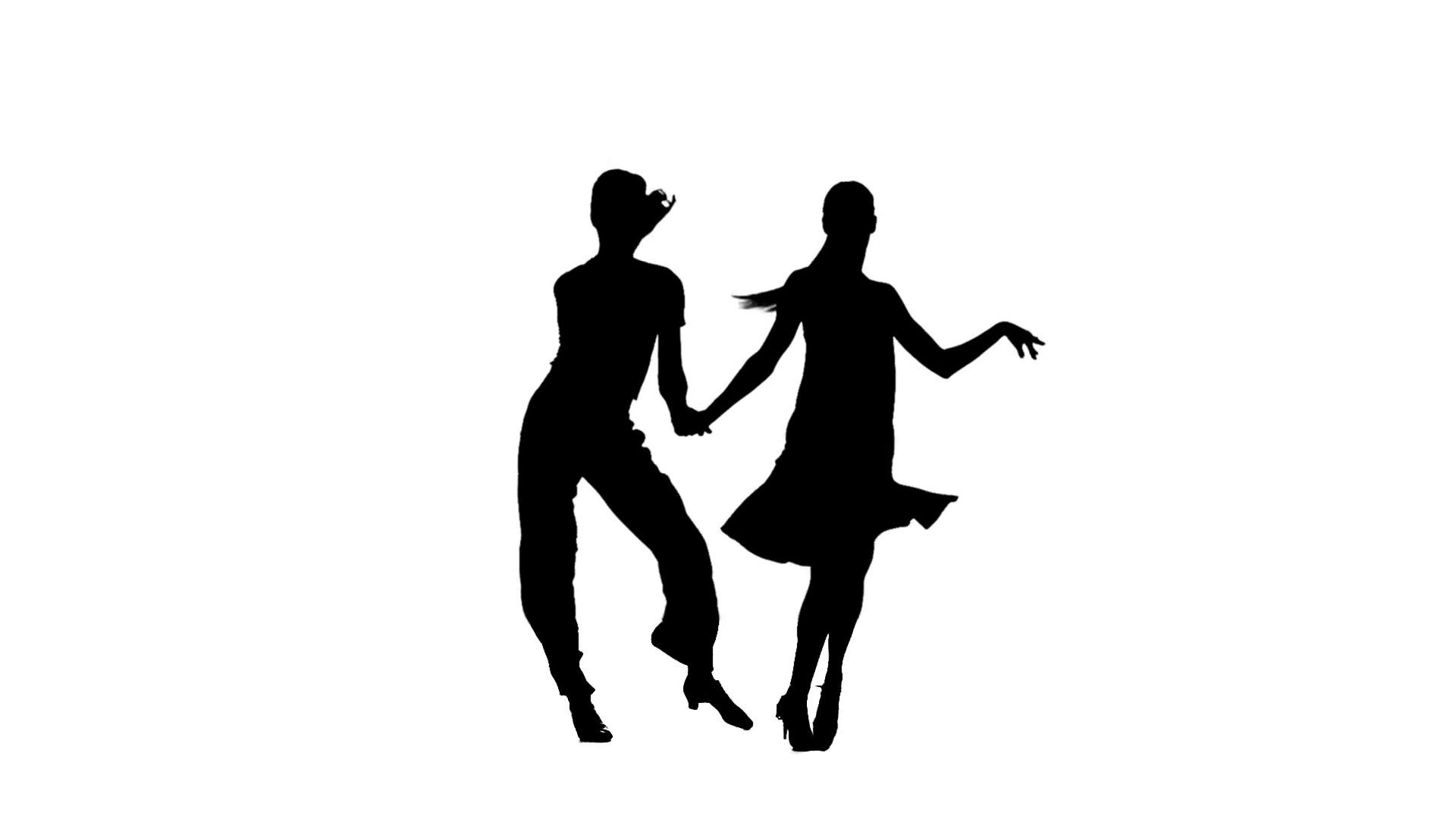 1920x1080 Silhouette Couple Professional Dancers Perform Latino. White