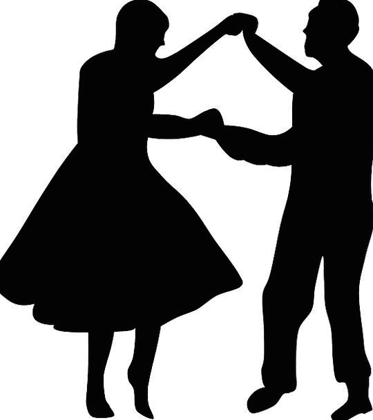 540x609 Couple, Twosome, Bopping, Silhouette, Outline, Dancing, Man, Black