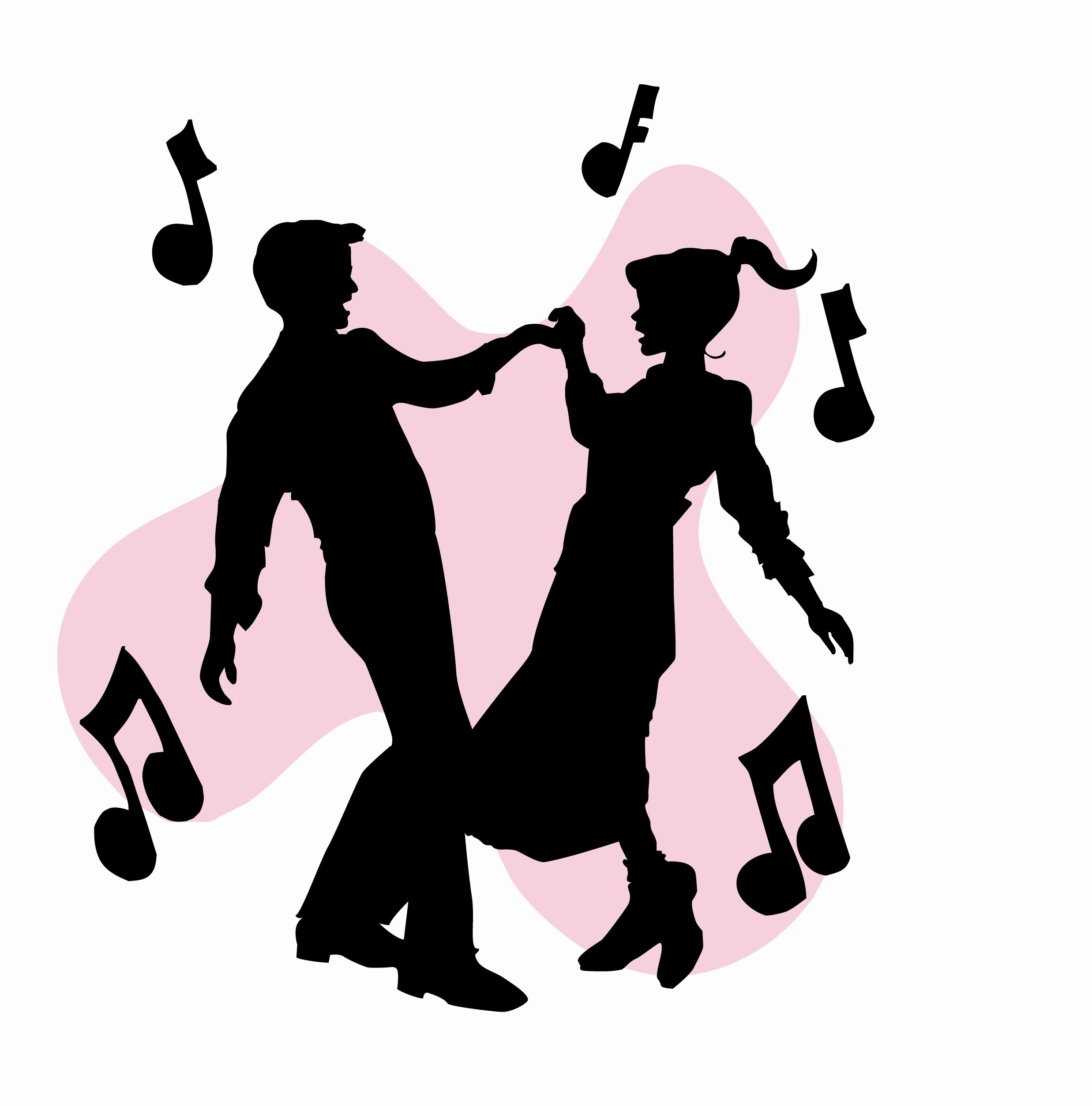 2475x2507 50s Sock Hop Dancers Silhouettes Clipart Homecoming Ideas