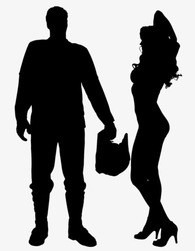 389x500 Couple Silhouette, Black Silhouette, Dancing, Father's Day Png