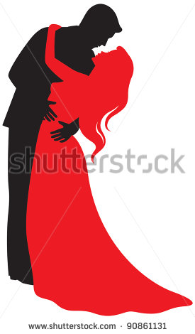 275x470 Elegant Couples Silhouette Clipart