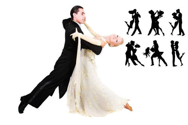 640x427 Couples Dancing With Stars Silhouette Wall Mural Happiness Family