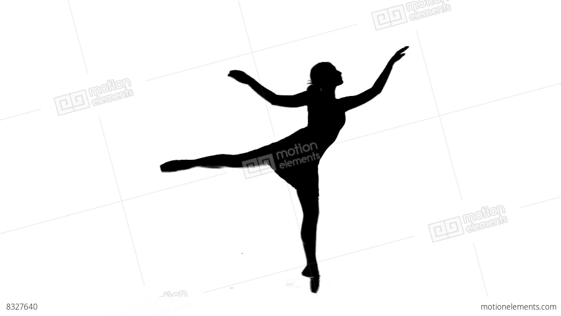 1920x1080 Silhouette 04 Ballerina Dancing On White Background Stock Video