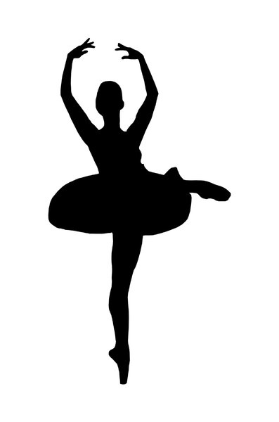 397x600 Silhouette Of Dancing Girl Free Applique