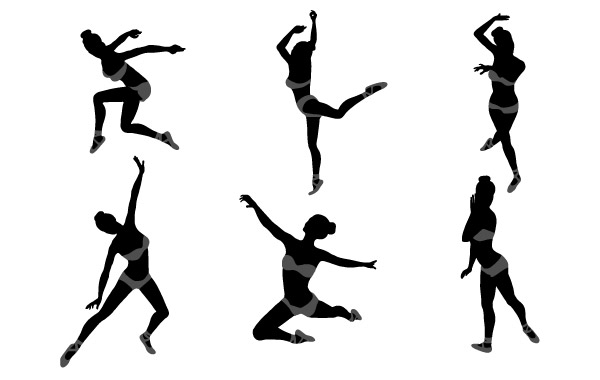 600x380 Dancing Girl Silhouettes Vector Free Download
