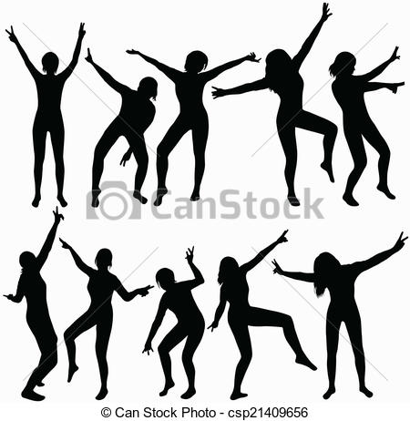 450x462 Dancing Girls Silhouettes Clipart Vector