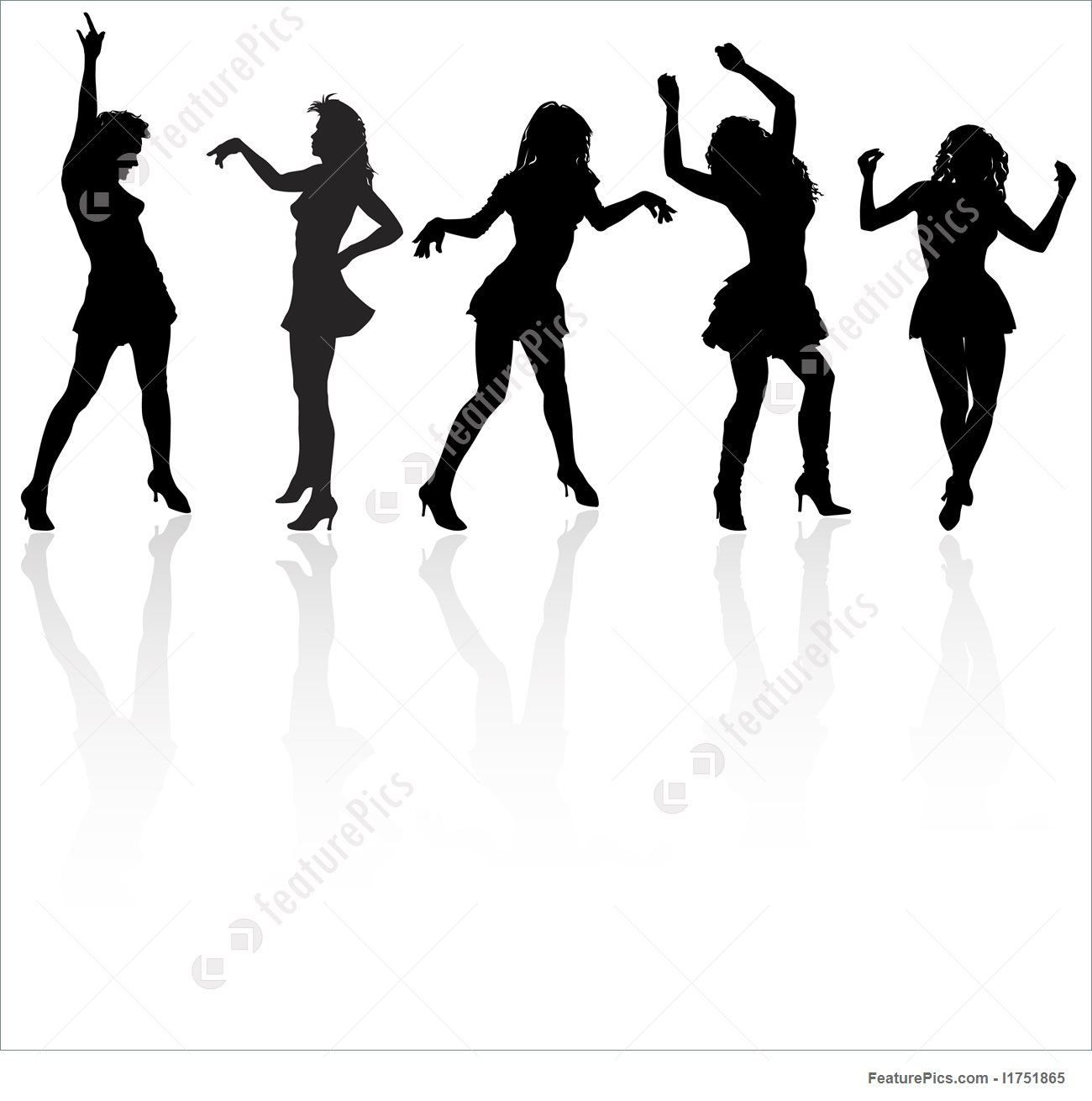 1300x1311 Vector Dancing Girls Silhouettes