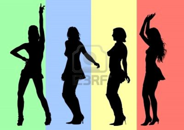 600x426 Vector Drawing Silhouettes Of Dancing Girls In A Nightclub Free