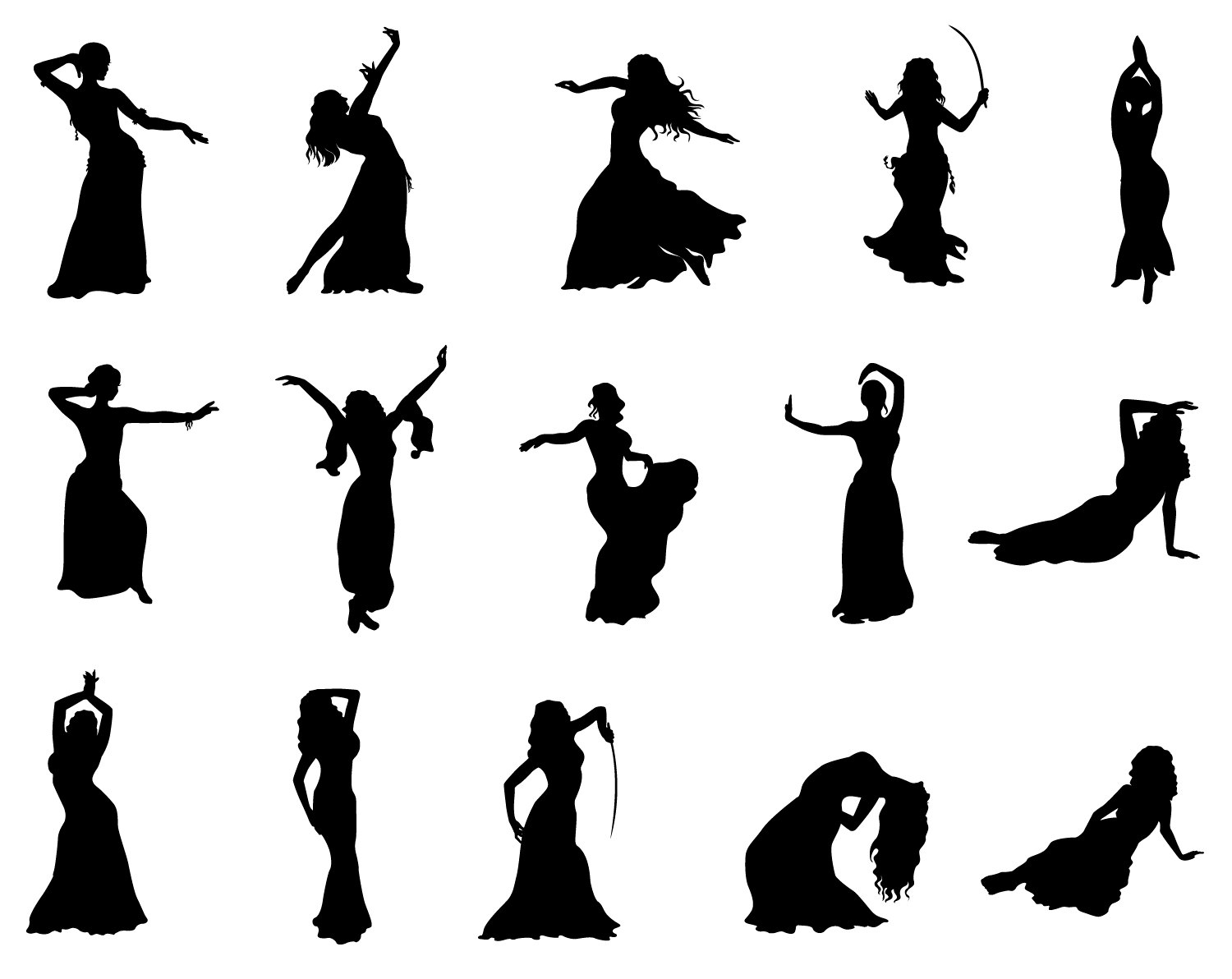 1500x1192 Belly Dance Svg Silhouette Cricut Cameo People Stensil Gold