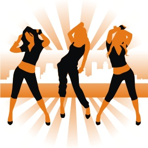300x300 Dancing Girl Silhouettes Vector