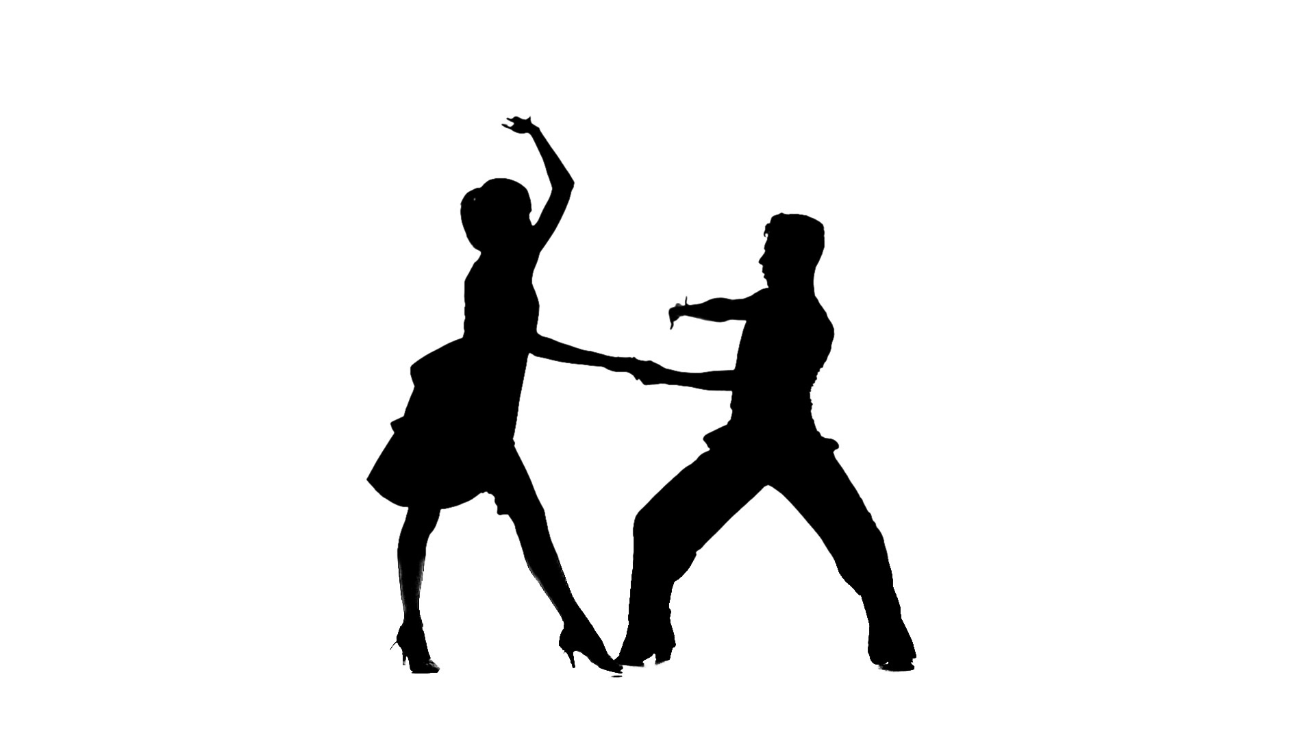 1920x1080 Silhouette Professional Pair Dancing Jive On White Background