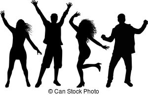 300x192 Dancing People Silhouettes. Black Silhouettes. Vector Clip Art