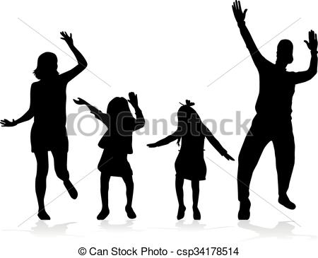 450x365 Dancing People Silhouettes. Vector Clip Art