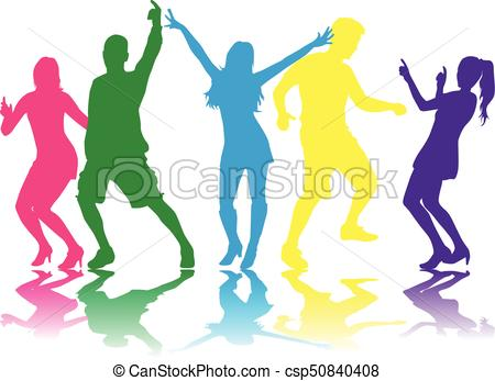 450x347 Dancing People Silhouettes. Vector Clipart