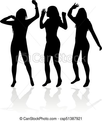 394x470 Dancing People Silhouettes. Vector Work. Vector Illustration