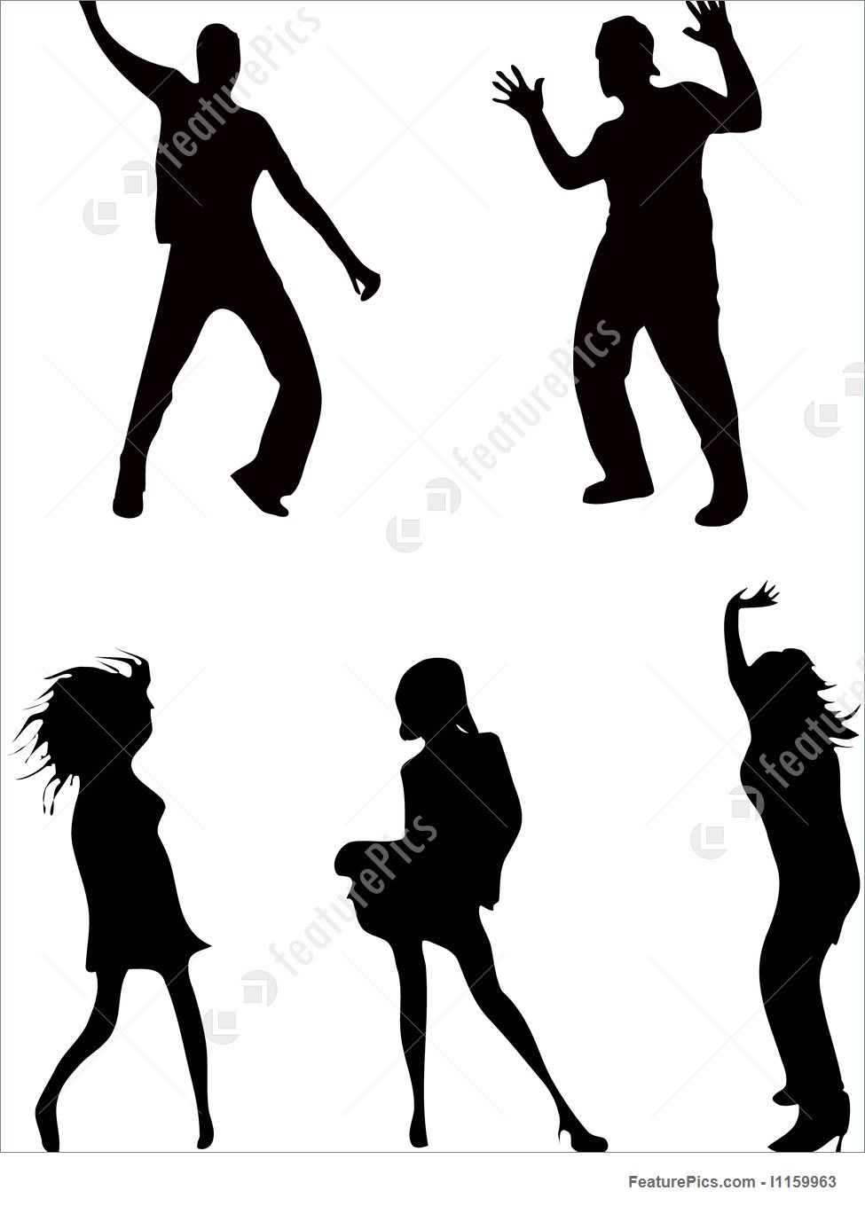 975x1360 Illustration Of Dancing People Carnival Dance Shadows