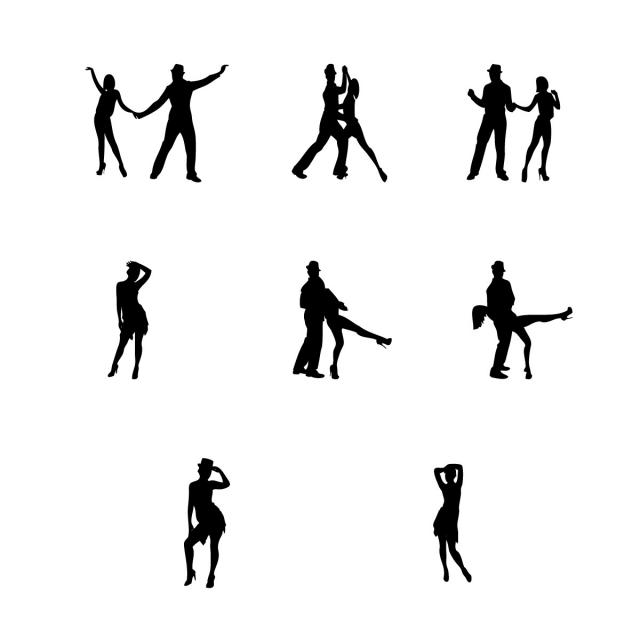 640x640 Dancing People Silhouettes, Fitness, Background, People Png