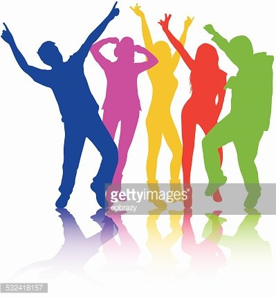 399x430 Dancing People Silhouettes Premium Clipart