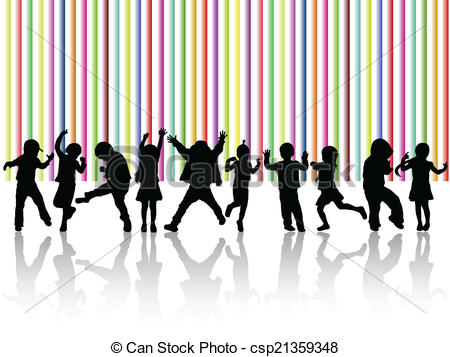 450x357 Dancing Children Silhouettes Eps Vector