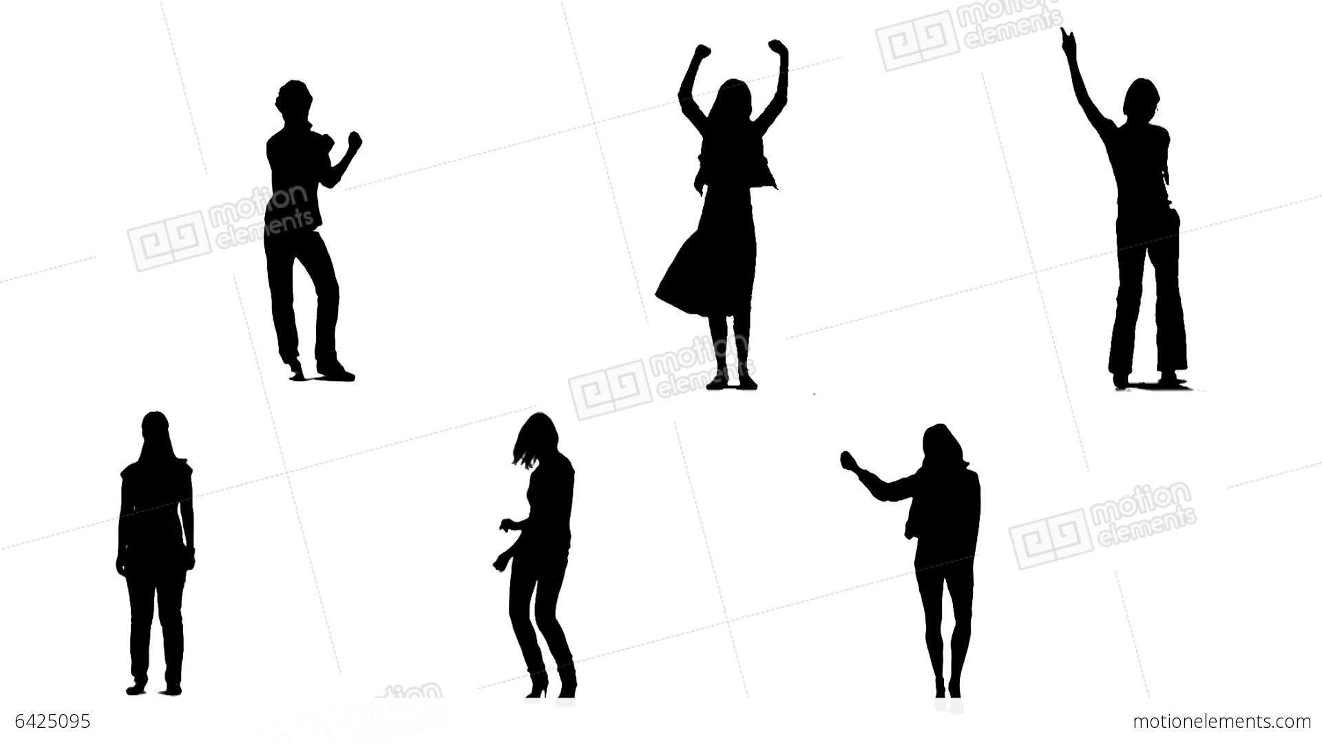 1920x1080 Silhouettes Of Young People Who Dance 2 Stock Animation 6425095