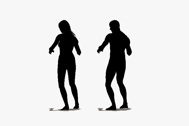 720x480imation Of Silhouettes Of A Mand A Woman Line Dancing On