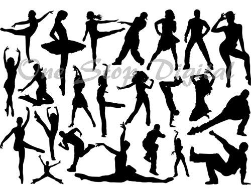 500x387 Instant Download Digital Dancers Silhouettes Ballet Dancer Clip