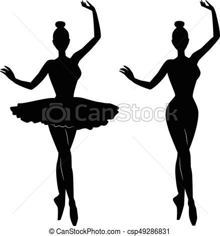 439x470 Woman Ballet Dancer Silhouette Vectors