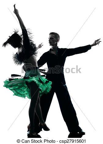 337x470 Elegant Couple Dancers Dancing Silhouette. One Caucasian Stock