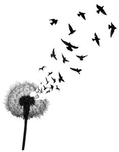 235x299 Dandelion With Bird Silhouettes Tattoo 3 By ~metacharis