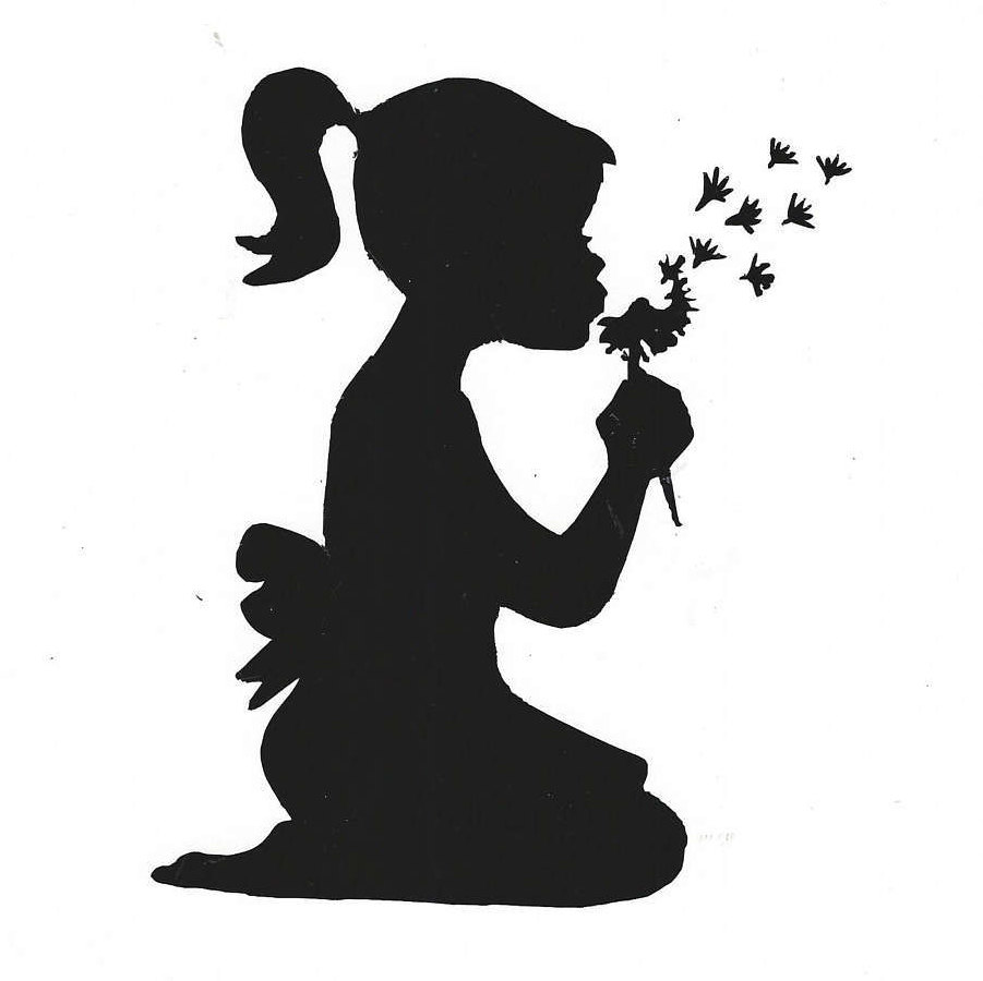 901x900 Vinyl Decal Of Girl Blowing On Dandelion 5 X 6