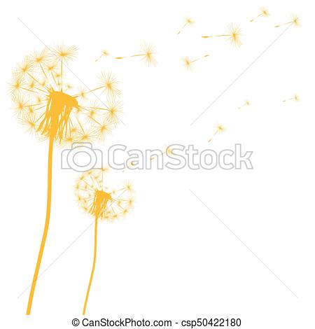 450x470 Silhouette Of A Dandelion On A White Background Vector Vector