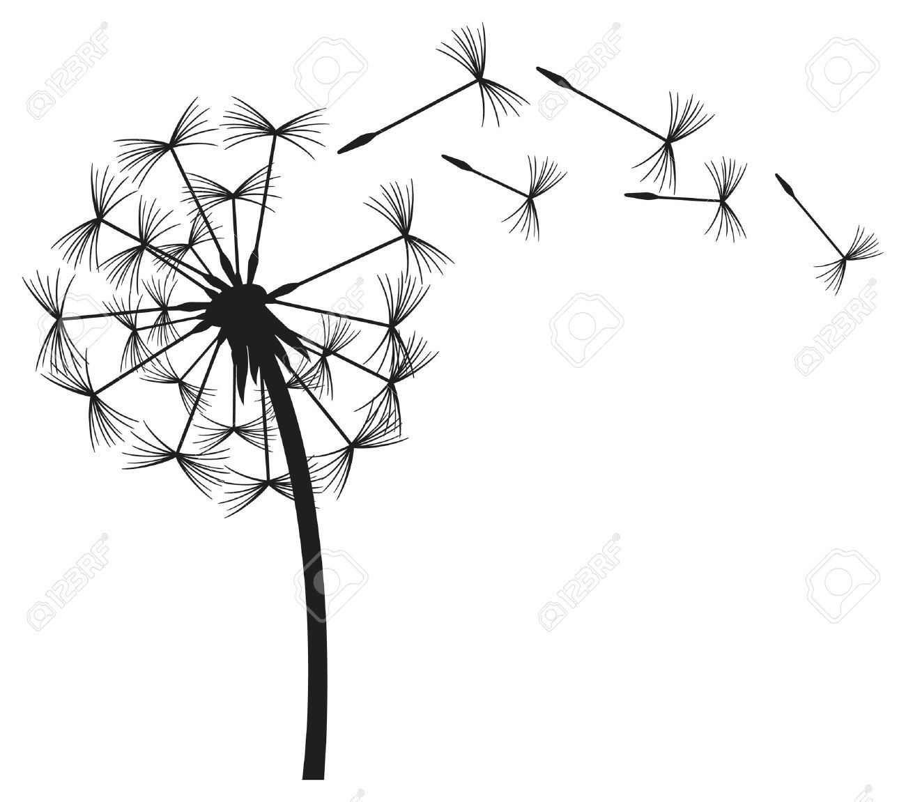 1300x1151 Blowing Dandelion Stock Vector Illustration And Royalty Free