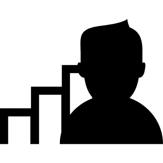 626x626 Man Dark Silhouette With Bars Graph Behind Icons Free Download