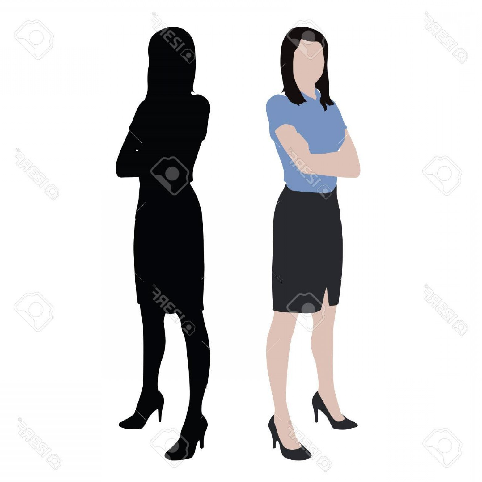 1560x1560 Photostock Vector Business Women Isolated Silhouette