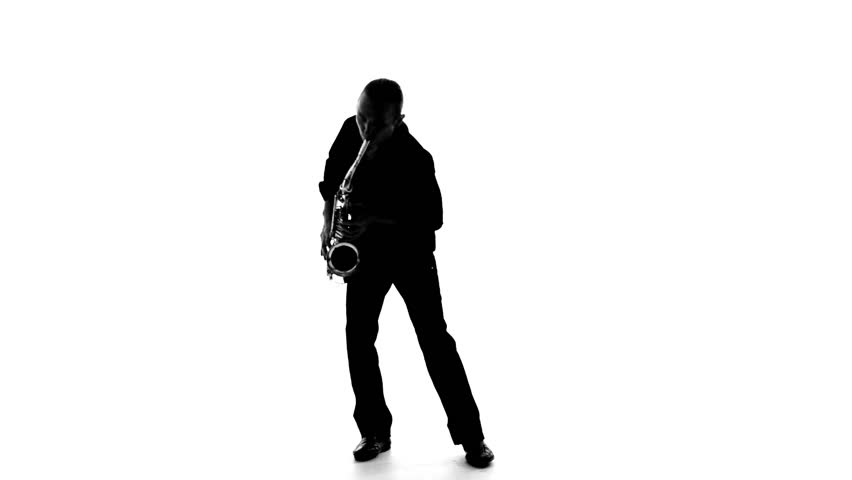 852x480 Dark Silhouette Of Musician Enthusiastically Playing Saxophone