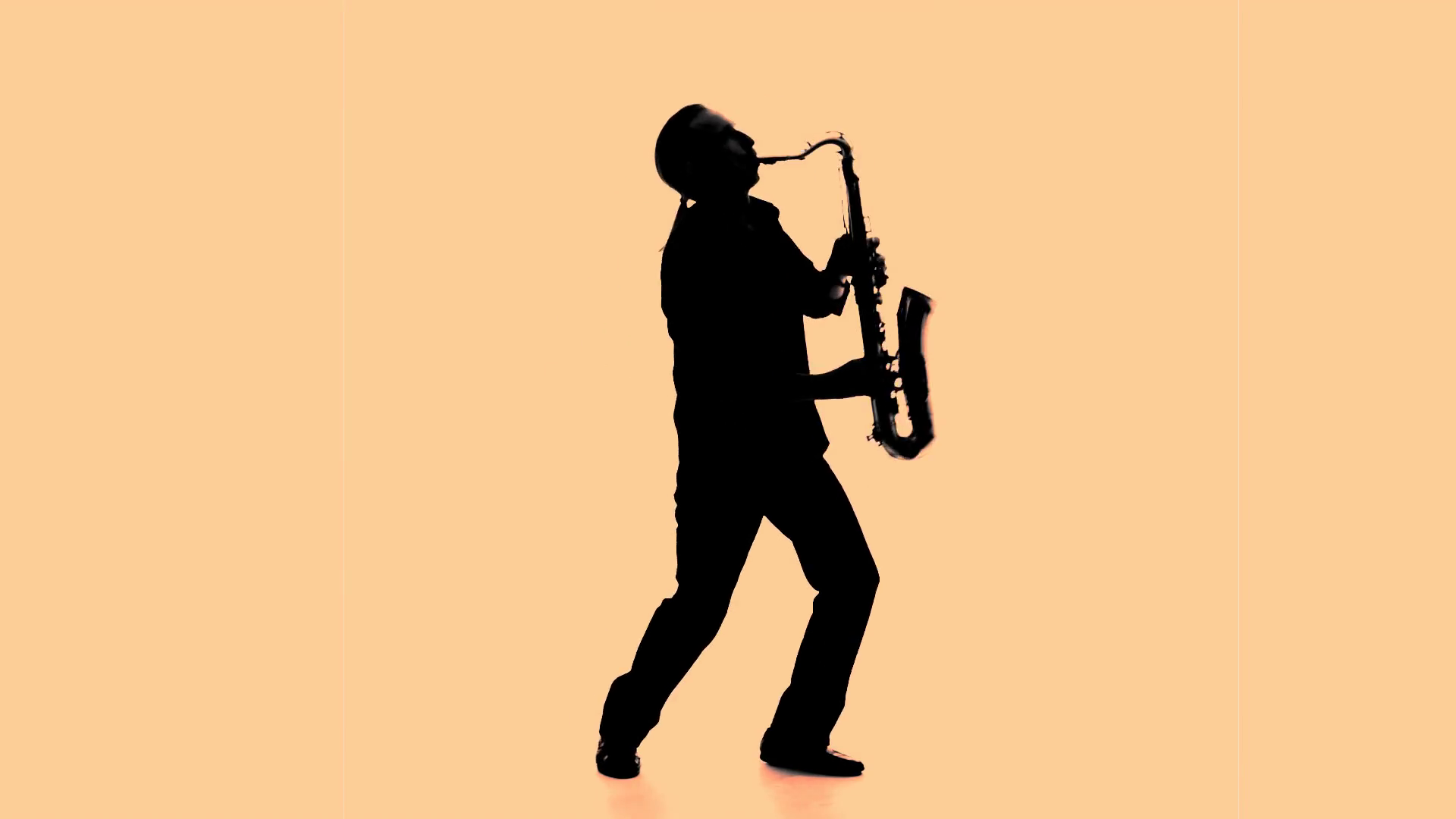 1920x1080 Dark Silhouette Of Man Playing The Saxophone Stock Video Footage