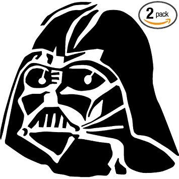 355x355 Darth Vader Face Icon (Black) (Set Of 2)