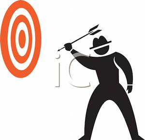 300x289 Of A Man Throwing Darts Clip Art Image