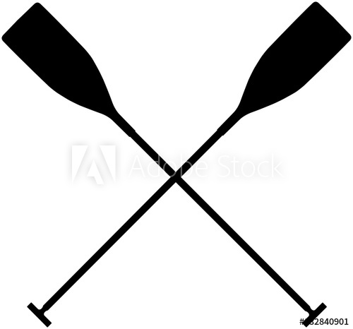 500x466 Real Sports Paddles For Canoeing. Black Silhouette Criss Cross
