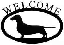 225x159 Wrought Iron Welcome Sign Dachshund Silhouette Outdoor Dog Plaque