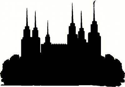 400x280 Maryland Washington D.c. Temple Silhouette Wall Sticker, Vinyl