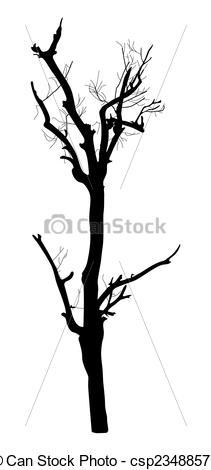 211x470 Dead Tree Silhouette. Abstract Spooky Horrible Dead Tree
