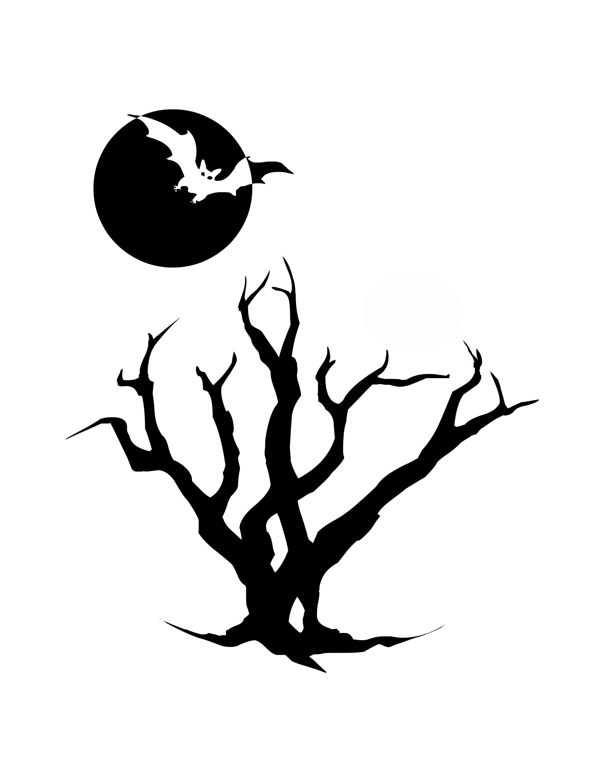 2040x2640 Spooky Tree Silhouette Clip Art