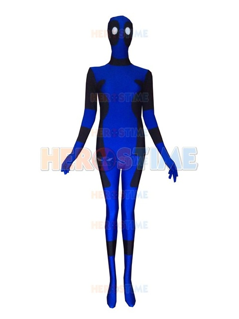 480x640 Blue And Black Deadpool Spandex Deadpool Costume Lycra Spandex