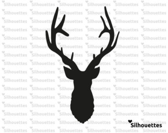 340x270 Deer Head Silhouette Machine Embroidery Design. Ombre